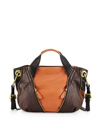 Oryany Lian Small Zip Leather Satchel Bag Saddle Multi