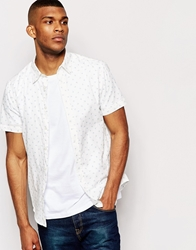 United Colors Of Benetton Short Sleeve Shirt With All Over Ditsy Palm Tree Print Offwhite903