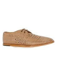 Hudson Brown Tan Woven Leather Lace Up Shoes