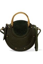 Chloe Pixie Suede And Textured Leather Shoulder Bag Dark Green