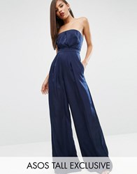 Asos Tall Red Carpet Satin Bandeau Jumpsuit Navy