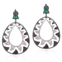 Meghna Jewels Interlocking Claw Earrings Black White Green