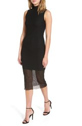 Kendall Kylie Women's Mesh Body Con Dress Black