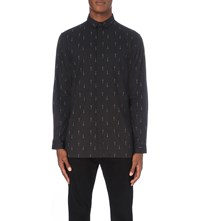 Tiger Of Sweden Mythic Cross Print Cotton Shirt Black