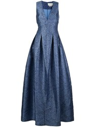 Sachin Babi And Brooke Cheetah V Neck Gown Blue