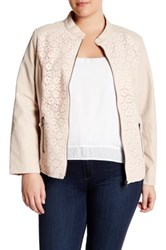 Live A Little Lace And Faux Leather Jacket Plus Size Pink