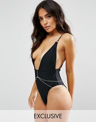 Wolf And Whistle Plunge Swimsuit With Removable Chain Black