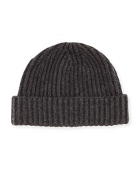 Portolano Wide Rib Knit Cashmere Hat Black