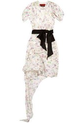Ronald Van Der Kemp Asymmetric Draped Floral Print Silk Dress White