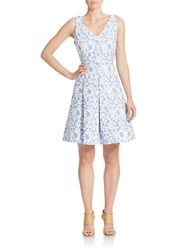Taylor Cross Back Jacquard Fit And Flare Dress Blue White
