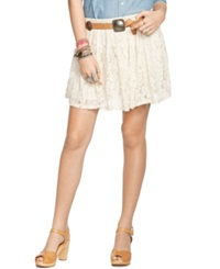 Denim And Supply Ralph Lauren Ruffled Lace Mini Skirt Antique Cream