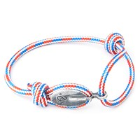 Anchor And Crew London Rope And Silver Bracelet Red White And Blue