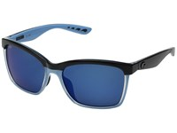 Costa Anaa Shiny Black Crystal Light Blue Blue Mirror 580P Fashion Sunglasses