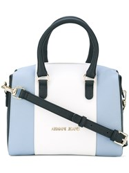 Armani Jeans Colour Block Tote Women Leather Polyester One Size Blue