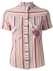 Romeo Gigli Vintage Striped Shirt Pink And Purple