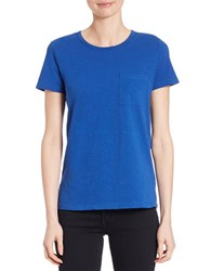 Lord And Taylor Petite Crewneck Pocket Tee True Blue