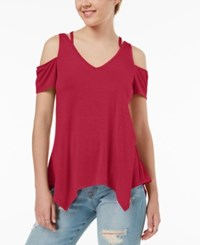 Almost Famous Juniors' Strappy Cold Shoulder Top Red