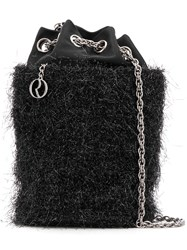 Rodo Satin Tinsel Bucket Bag Black