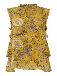 Part Two Sleeveless Floral Ruffle Blouse Yellow
