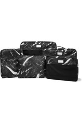 Calpak Set Of 5 Marbled Canvas And Mesh Packing Cubes Black