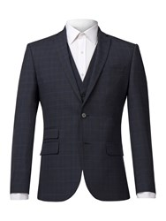 Racing Green Men's Blue Brown Check Tailored Jacket Blue