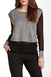 Autograph Addison Sheer Sleeve Knit Blouse Black