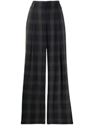 Vince Plaid Print Flared Trousers Blue