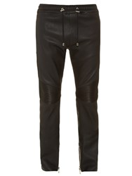 Balmain Calecon Leather Biker Trousers Black