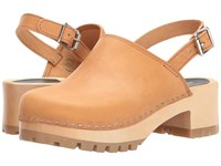 Swedish Hasbeens Jill Nature Clog Mule Shoes Neutral