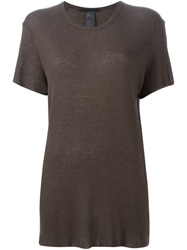 Haider Ackermann Ribbed Loose Fit T Shirt Brown