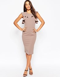 Asos Pencil Dress With Ruffle Detail Brown