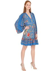 Roberto Cavalli Flower Printed Silk Crepe De Chine Dress