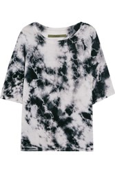 Enza Costa Printed Silk Blend Jersey Top Light Gray