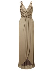 Ariella Mocha Grace Jet Laque Jersey Long Dress Brown