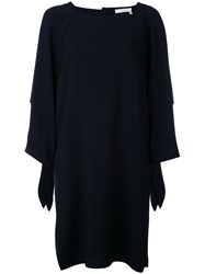 Chloe Square Neck Shift Dress Women Silk Acetate Viscose 36 Black