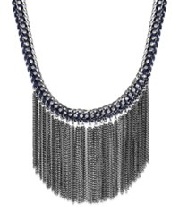 Bar Iii Hematite Tone Blue Cord And Fringe Chain Statement Necklace