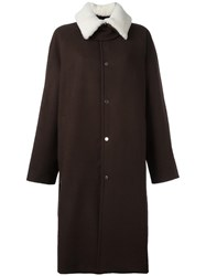 Agi And Sam Shearling Collar Long Coat Brown