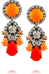 Shourouk Marguerite Gunmetal Tone Painted Crystal Earrings Orange