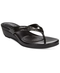 Styleandco. Style And Co. Haloe Wedge Thong Sandals Only At Macy's Women's Shoes Black