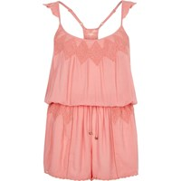 River Island Womens Pink Lace Insert Beach Cover Up Playsuit