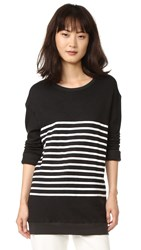 Sundry Stripes Pullover Sweatshirt Old Black
