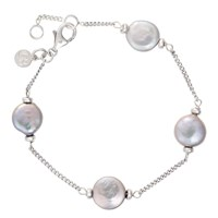 Claudia Bradby Freshwater Pearl Coin Chain Bracelet Silver