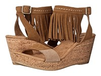 Minnetonka Poppy Dusty Brown Suede Color Block Patches Women's Wedge Shoes