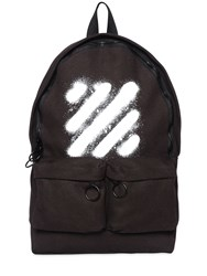Off White Spray Stripes Printed Canvas Backpack