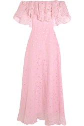 Temperley London Off The Shoulder Fil Coupe Silk Blend Organza Gown Pink