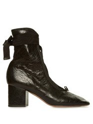 Valentino Ballerina Lace Up Ankle Boots Black