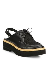 Robert Clergerie Sarust Leather And Lace Mule Slingbacks Black
