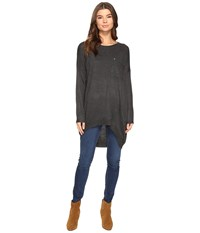 Brigitte Bailey Bryleigh Long Sleeve Tunic With Pocket Charcoal Women's Blouse Gray