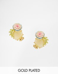 Les Nereides Les Neriedes Flower Gem Stud Earrings White