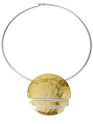 Robert Lee Morris Two Tone Hammered Disc Necklace Multi